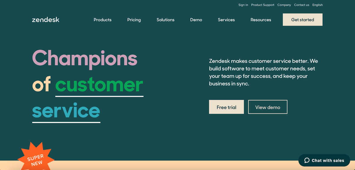 Zendesk homepage