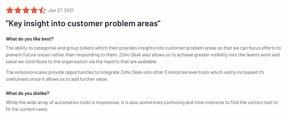 "Zoho desk review: ""Key insight into customer problem areas"""