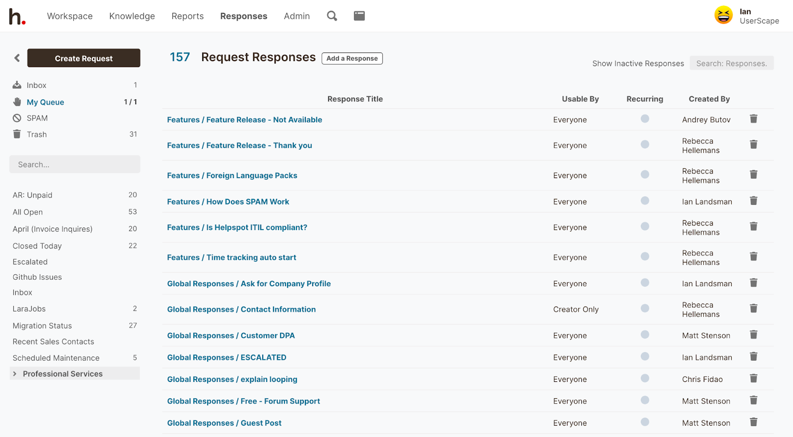 Shared inbox management: Request Responses in HelpSpot