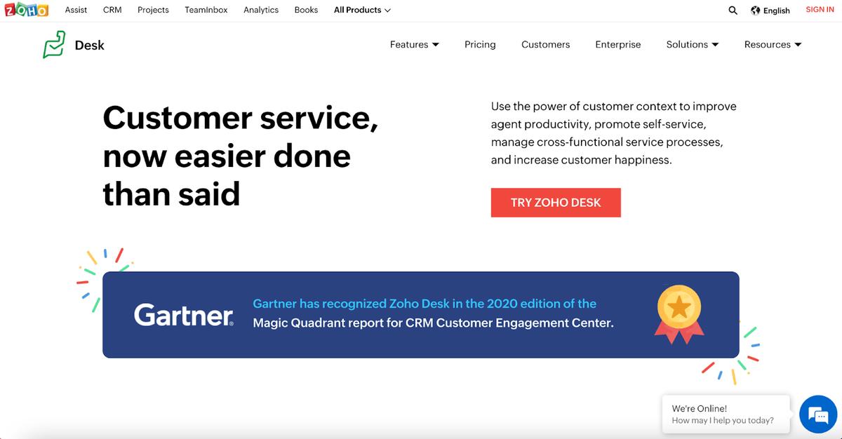 Zoho Desk homepage
