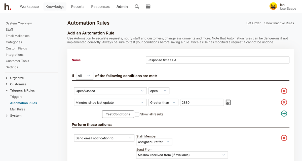 HelpSpot's Automation Rules