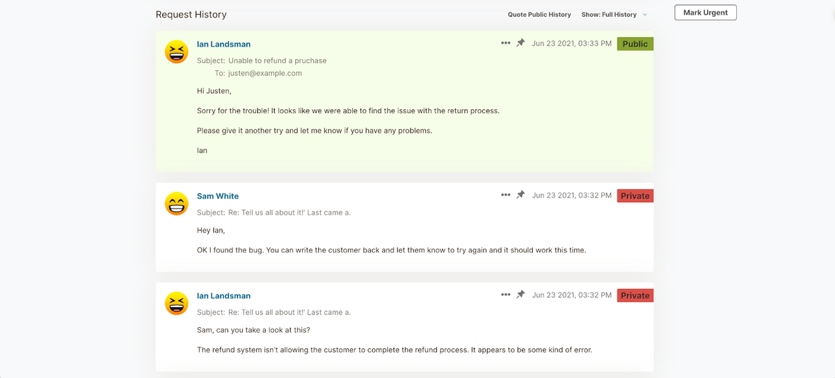 HelpSpot Request History comments