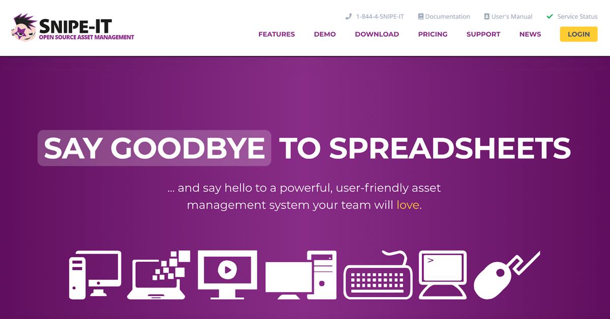 Snipe-IT homepage
