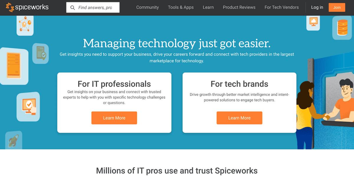 Spiceworks homepage: Managing technology just got easier.