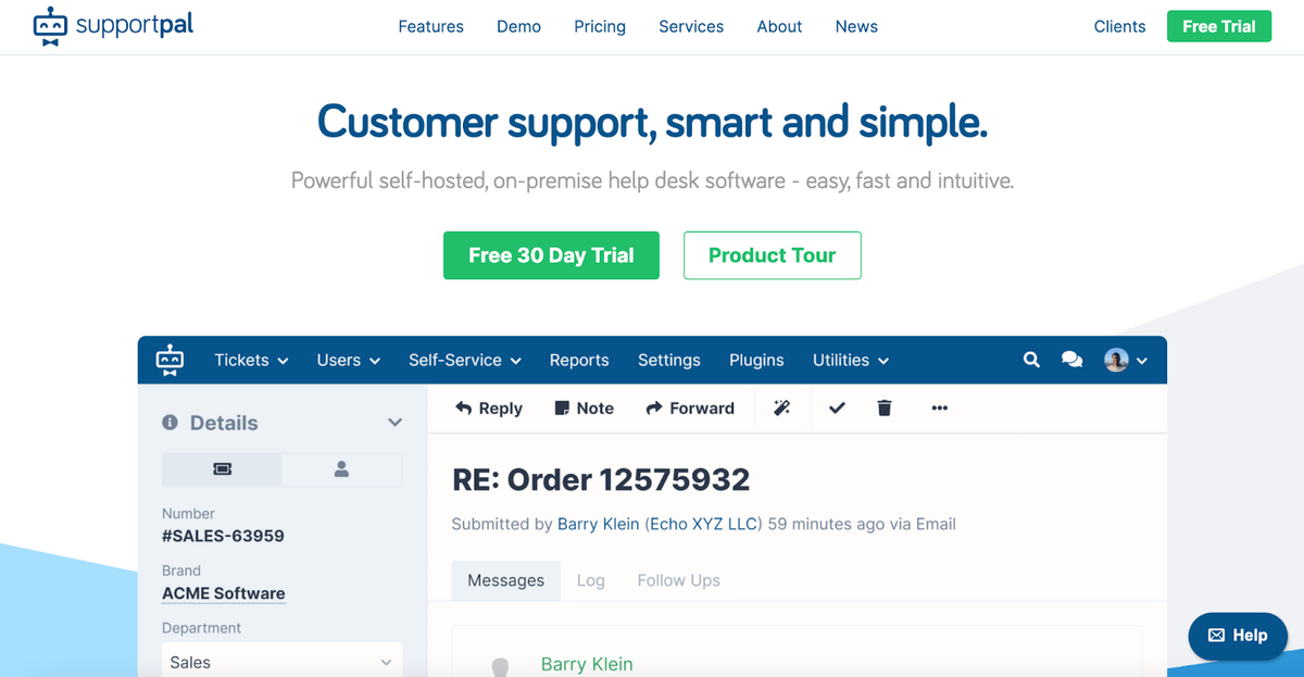 SupportPal homepage: Customer support, smart and simple.