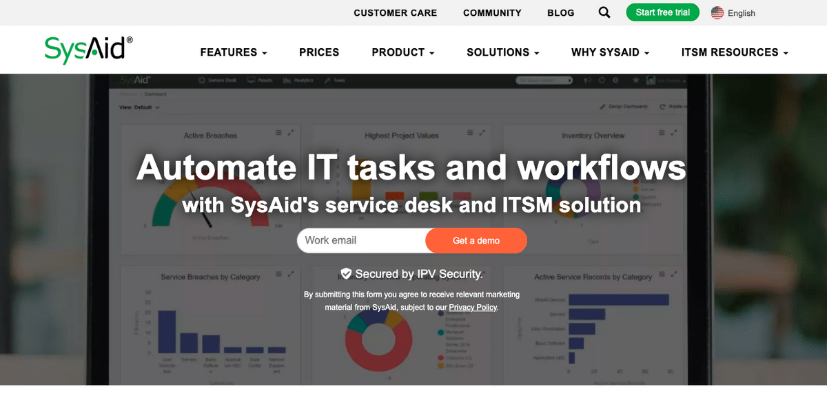 SysAid homepage: Automate IT tasks and workflows.