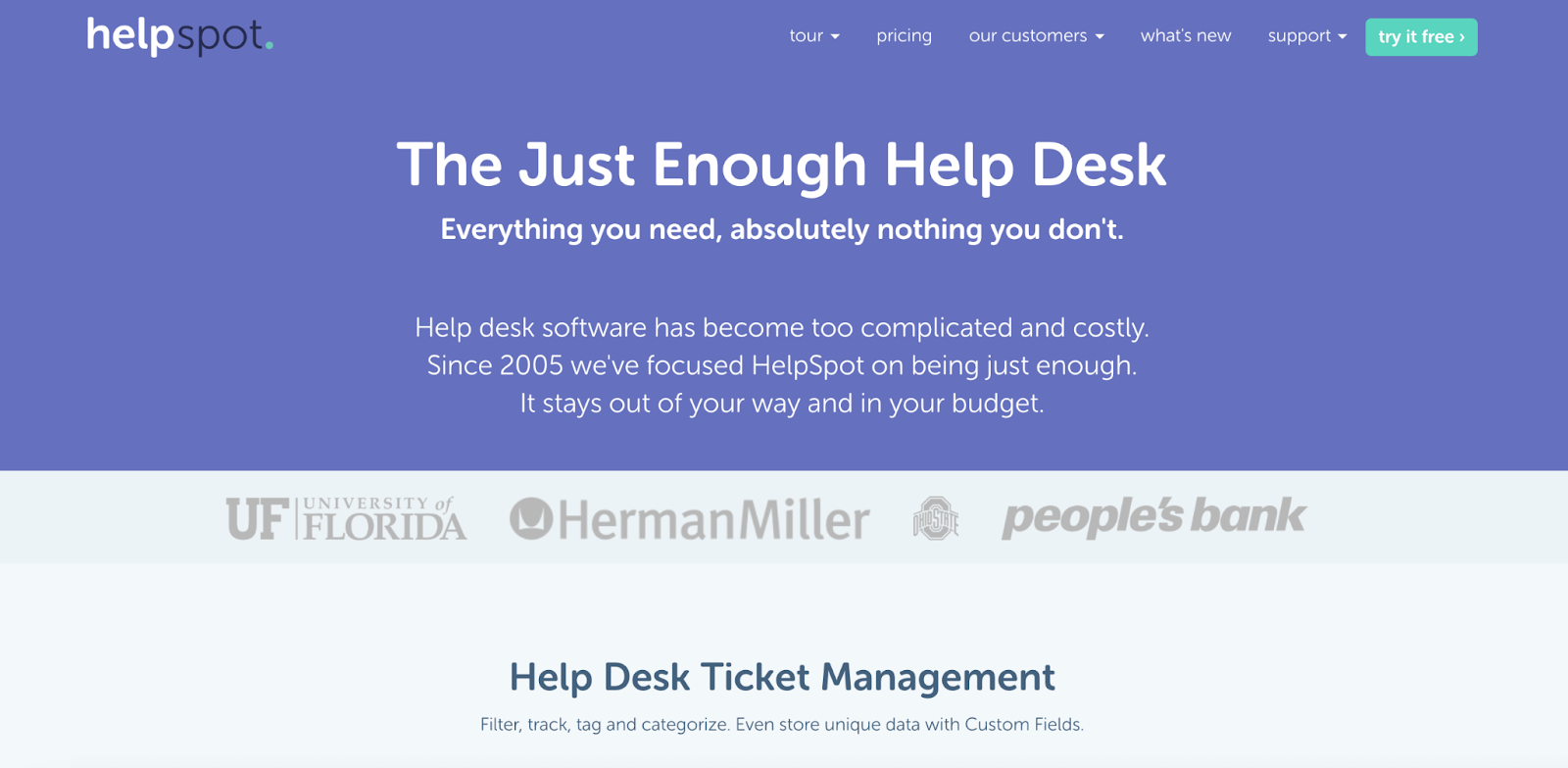 HelpSpot homepage: The Just Enough Help Desk - Everything you need, absolutely nothing you don't.