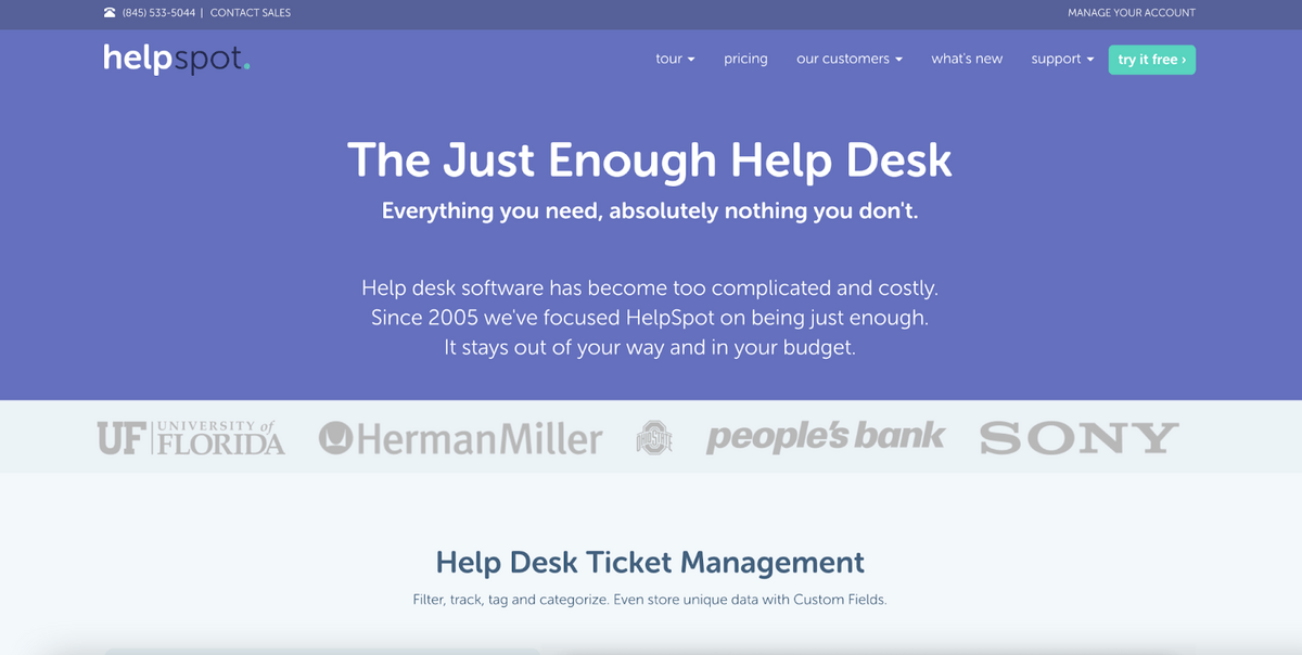 HelpSpot homepage: The Just Enough Help Desk; Everything you need, absolutely nothing you don't.