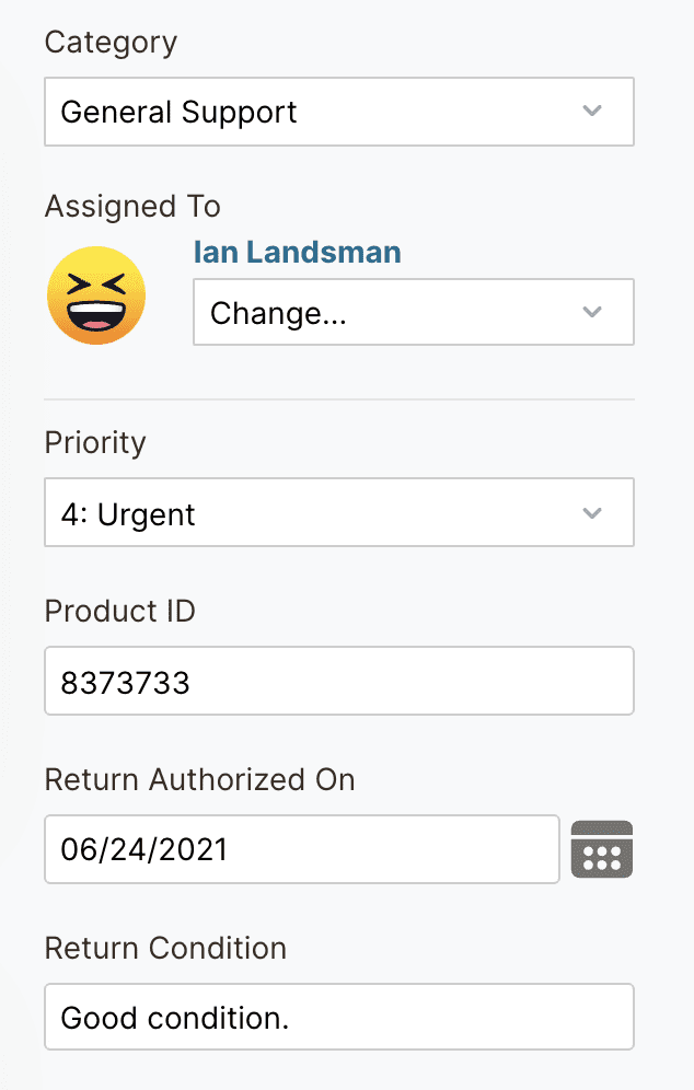 HelpSpot Category, Assigned to, Priority, Product ID, etc.