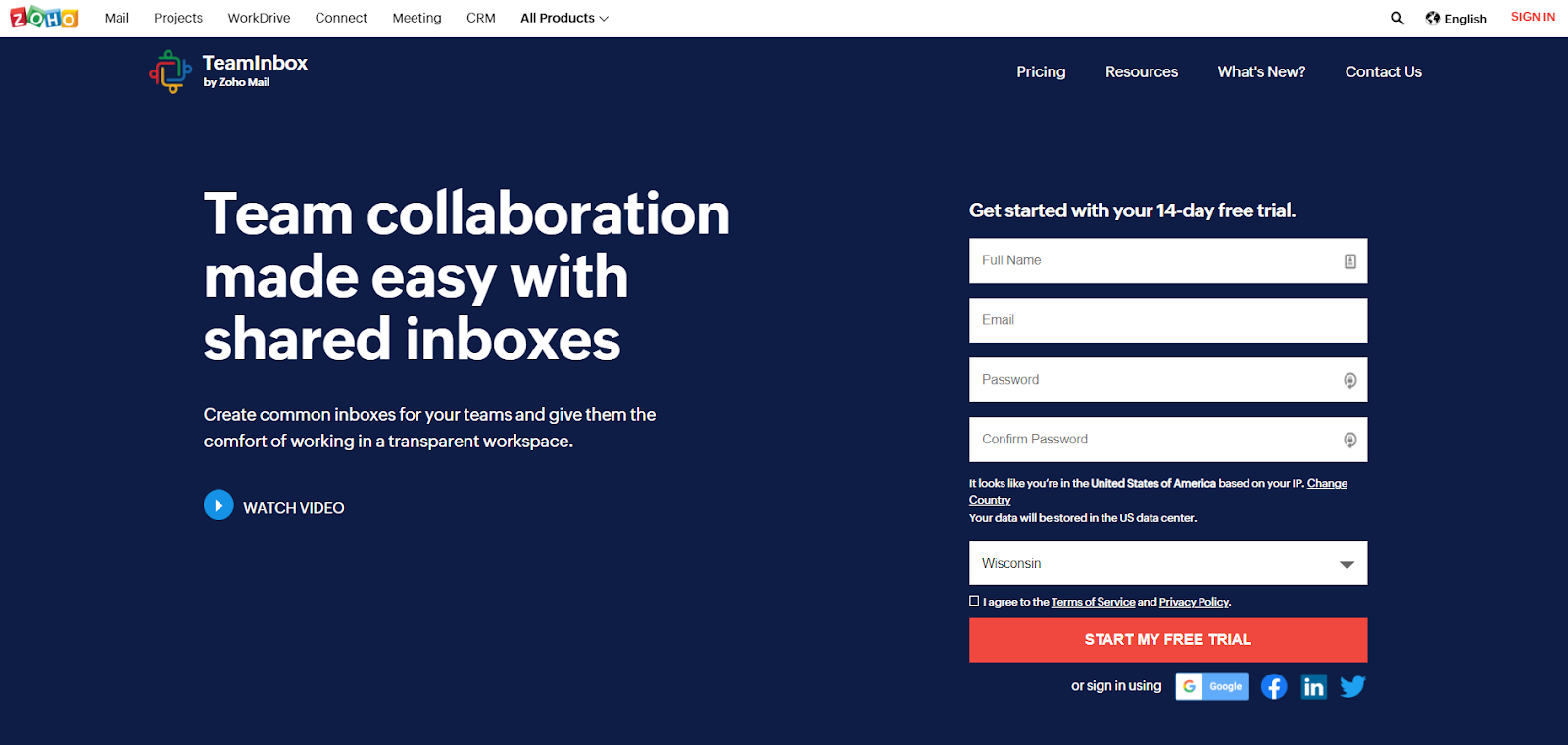 Zoho TeamInbox homepage: Team collaboration made easy with shared inboxes. Create common inboxes for your teams and give them the comfort of working in a transparent workspace.