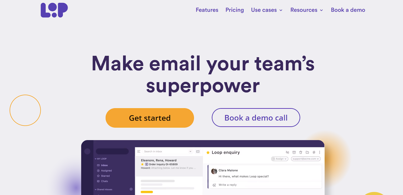 Loop homepage: Make email your team's superpower.