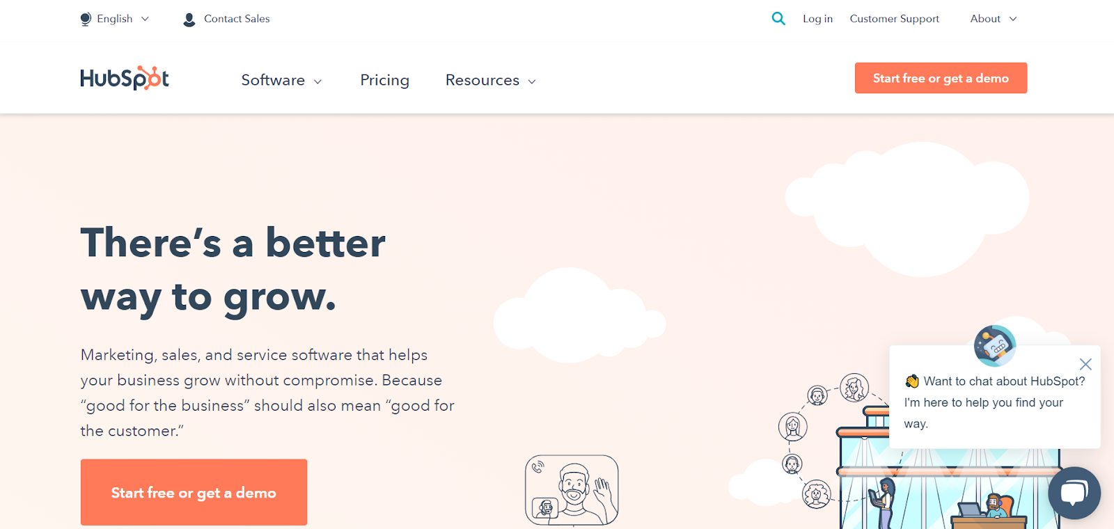 """HubSpot homepage: There's a better way to grow. Marketing, sales, and service software that helps your business grow without compromise. Because """"good for the business"""" should also mean """"good for the customer."""""""