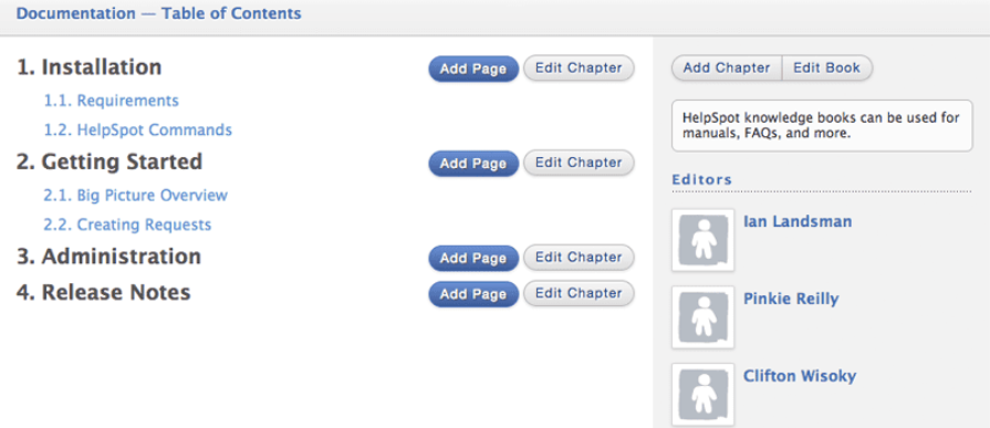HelpSpot's Self-Service Portal: Easily Create a Table of Contents with Chapters and Pages for FAQ.