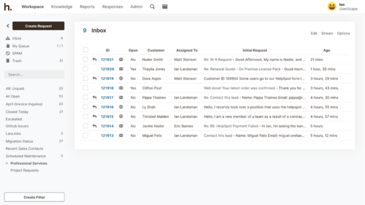 HelpSpot Inbox: See all requests in one place.