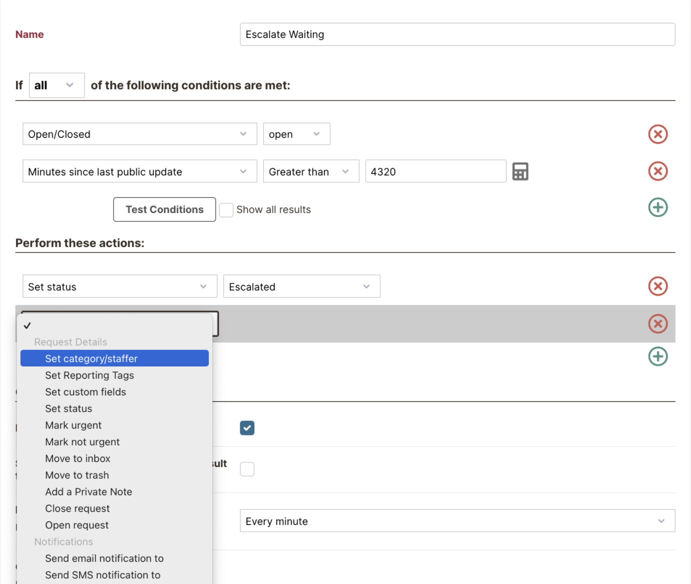 Automation Rules & Triggers in HelpSpot: Specify Conditions