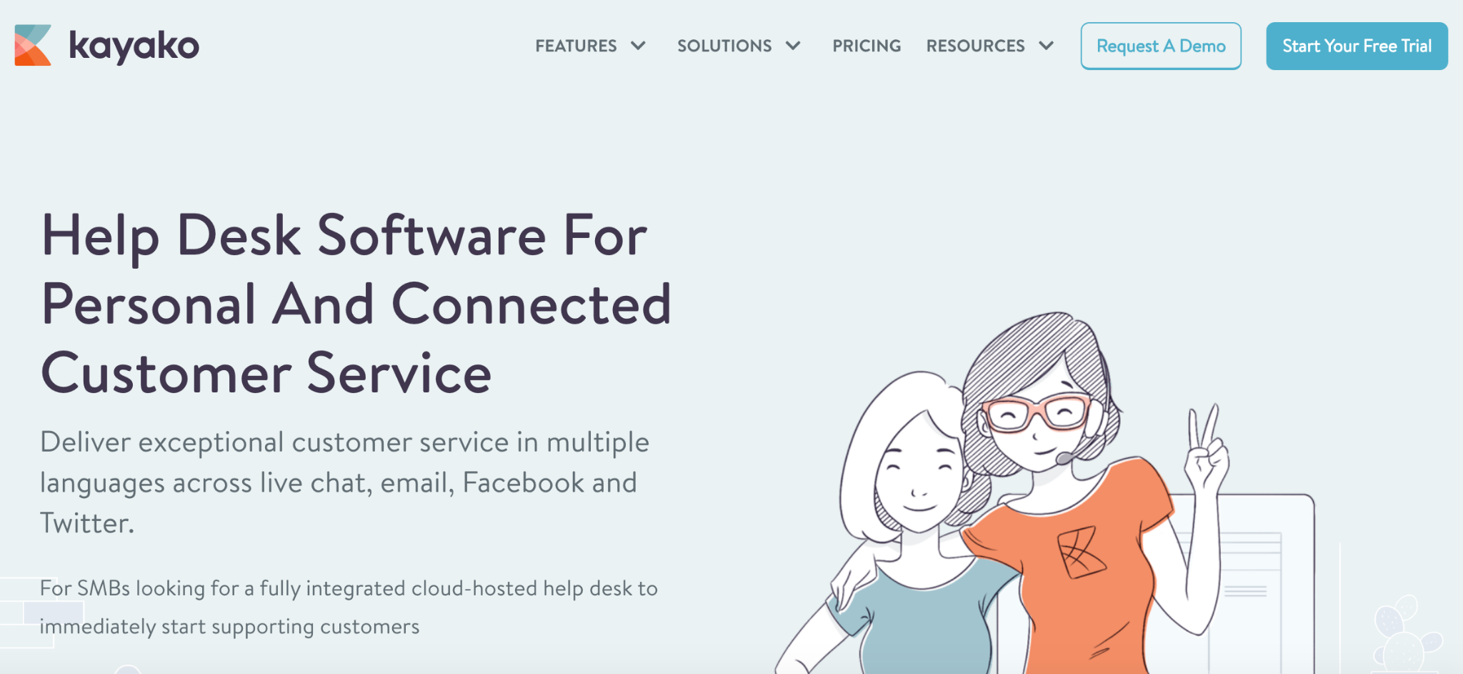 Kayako homepage: Help Desk Software for Personal and Connected Customer Service
