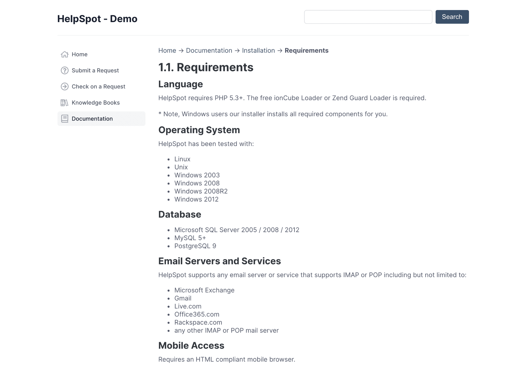 HelpSpot Knowledge Base and Self Service Portal Example