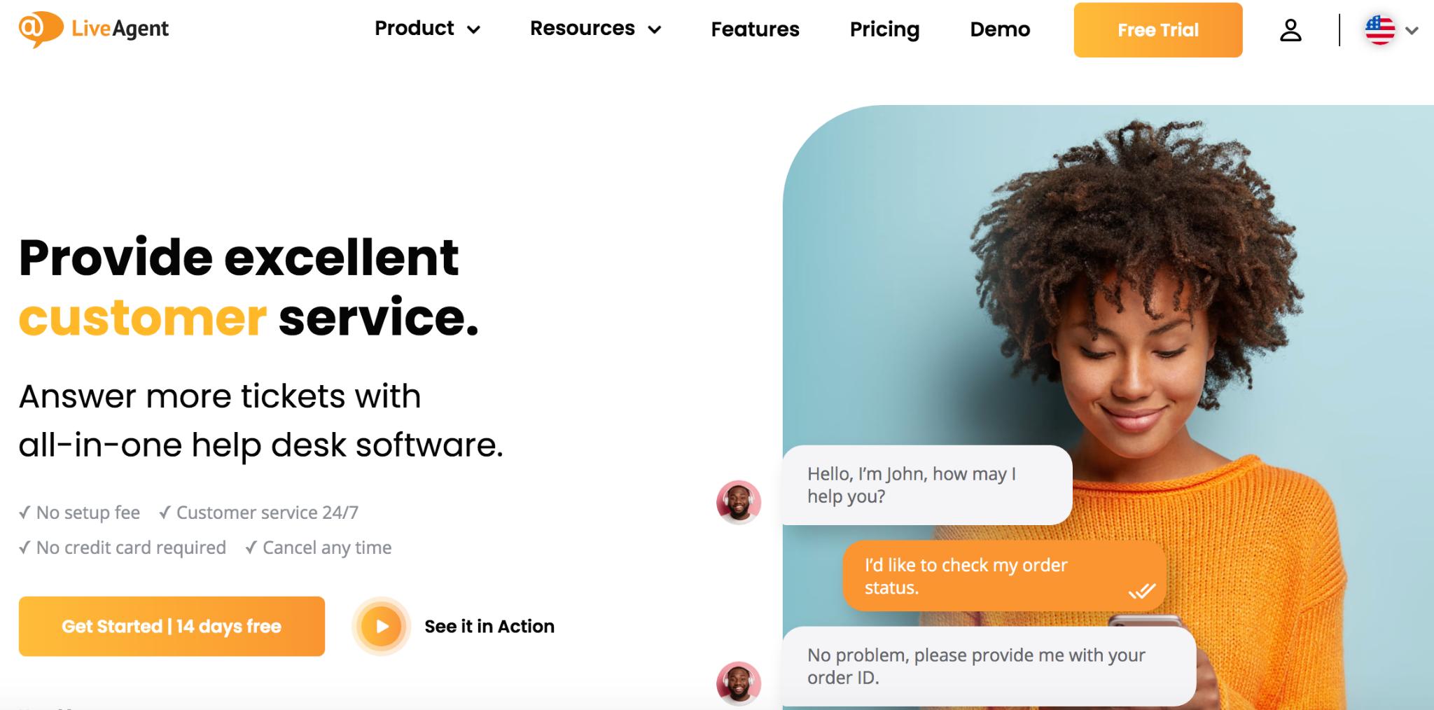 LiveAgent homepage: Provide excellent customer service.