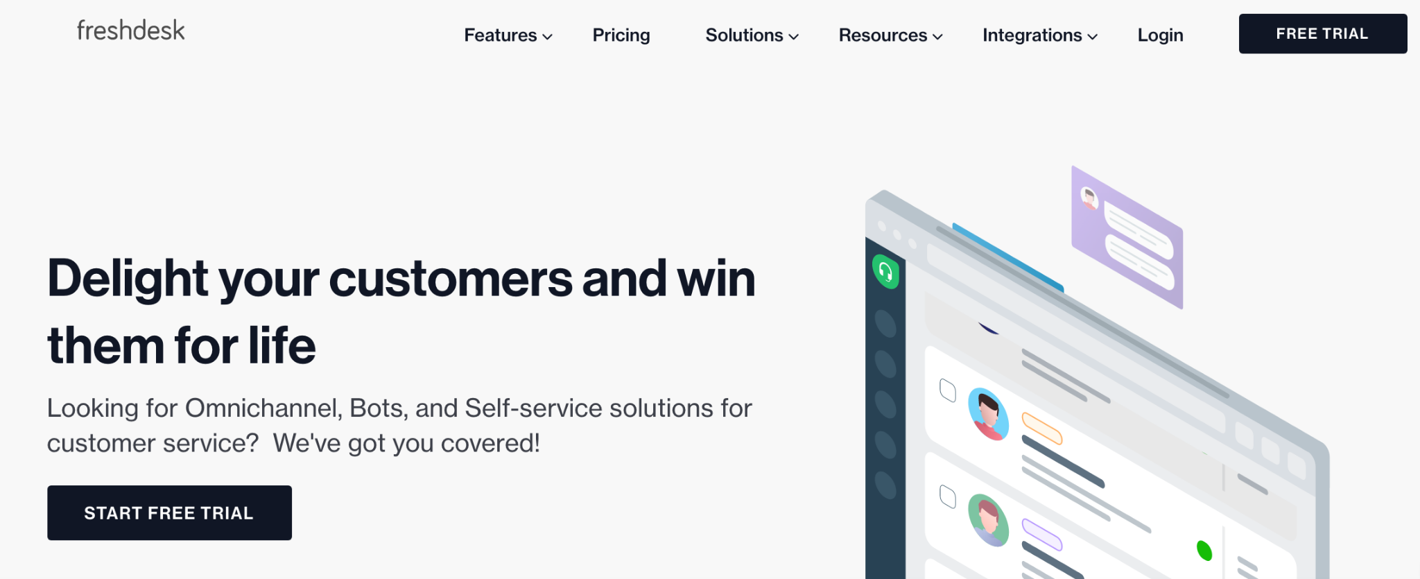 Freshdesk homepage: Delight your customers and win them for life