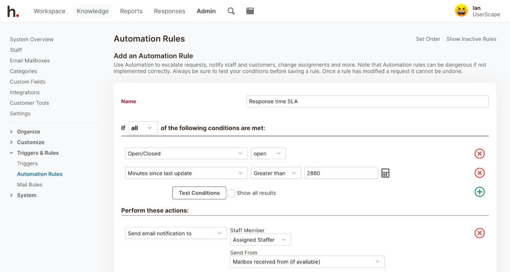 HelpSpot Automation Rules: Add an Automation Rule to escalate requests, notify staff and customers, change assignments and more.