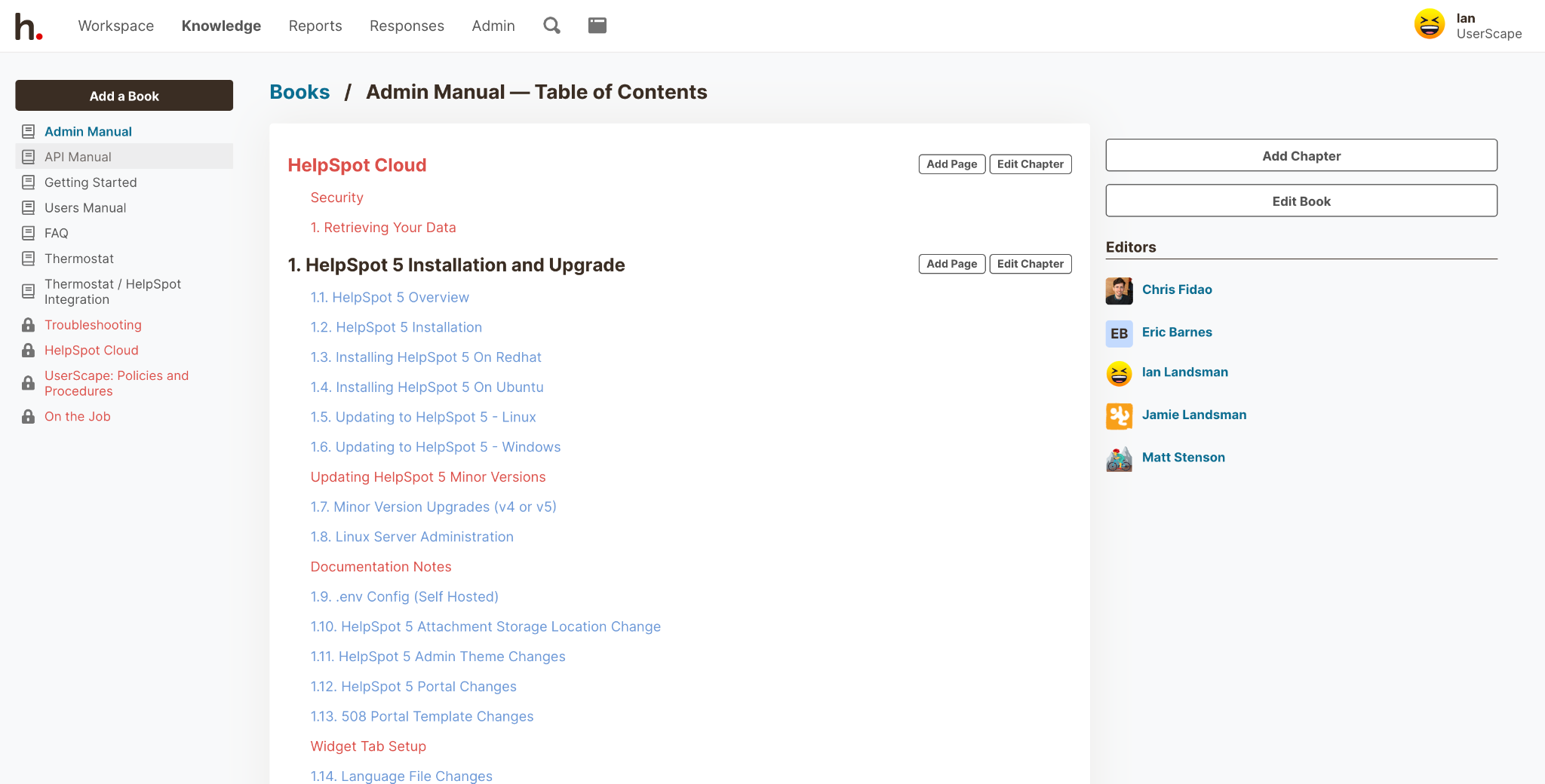 HelpSpot Books Admin Manual: Table of Contents