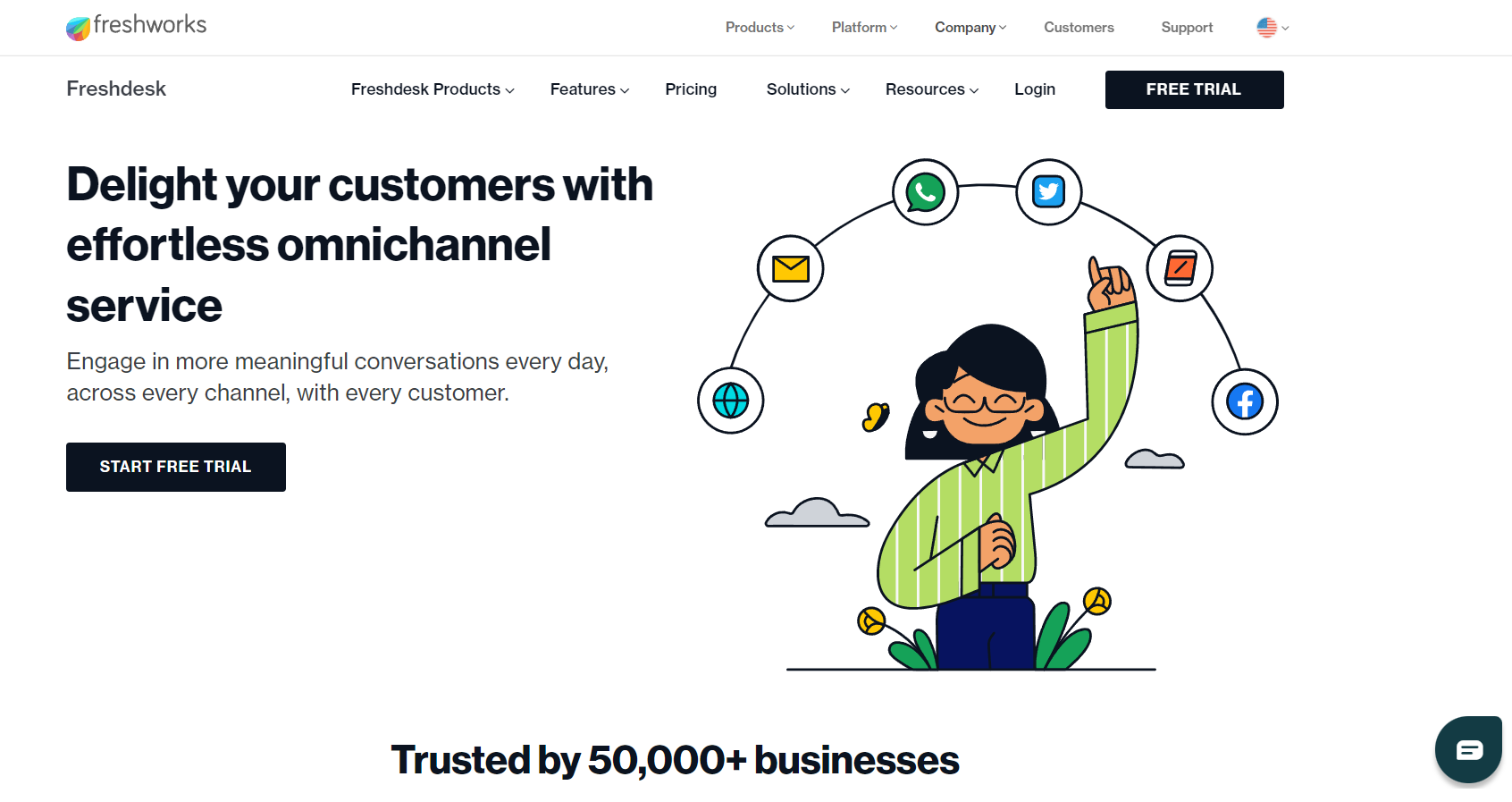 Freshworks homepage: Delight your customers with effortless omnichannel service