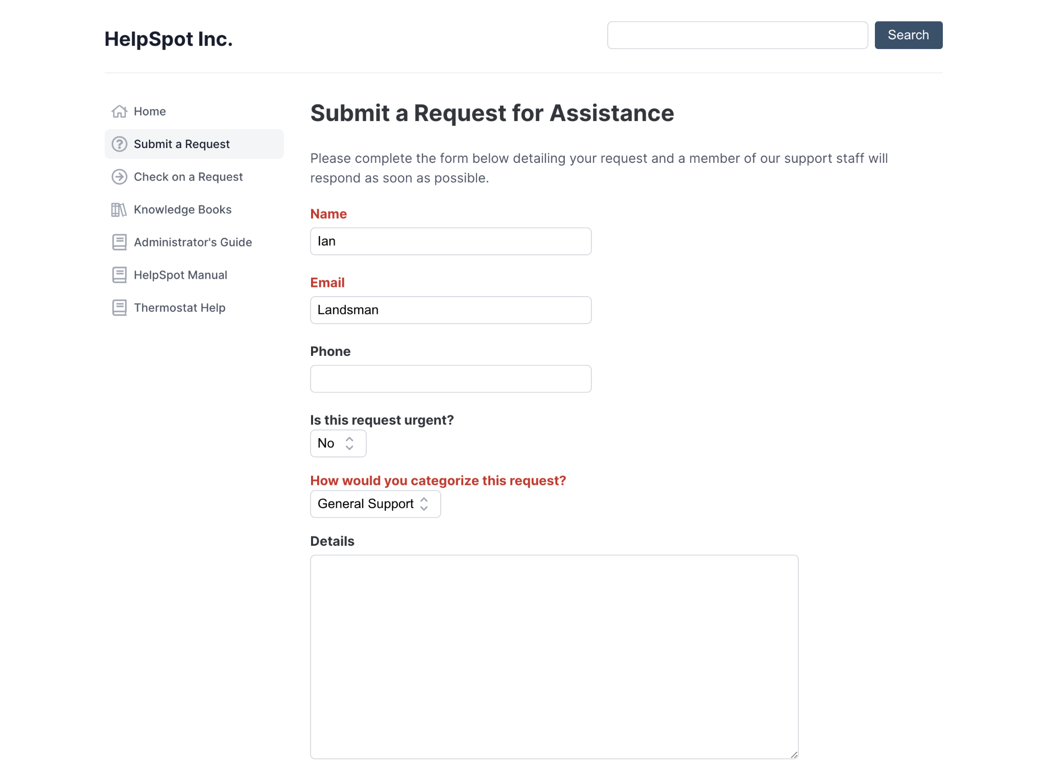 HelpSpot's portal to Submit a Request for Assistance