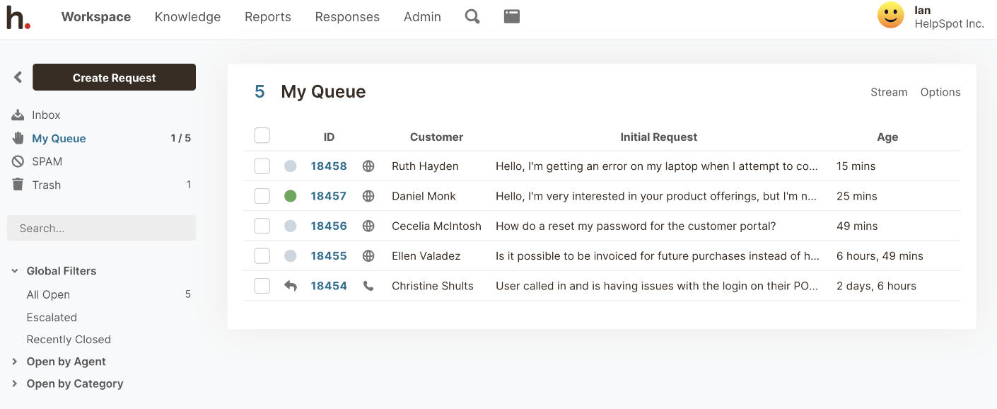HelpSpot's Queue keeps everyone that you need to respond to in one place.