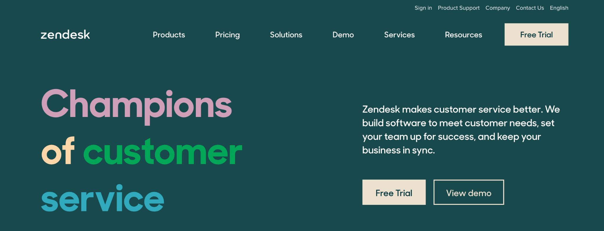 Zendesk homepage: Champions of Customer Service