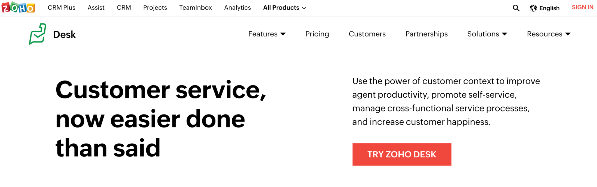 Zoho Desk homepage: Customer service, now easier done than said.