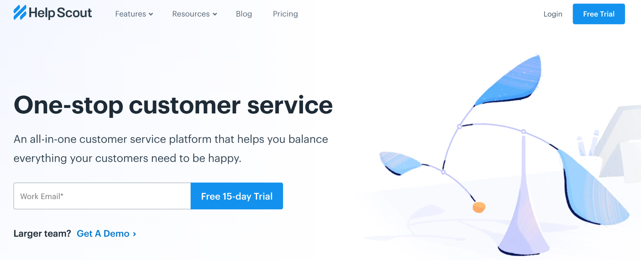 Help Scout homepage: One-Stop Customer Service
