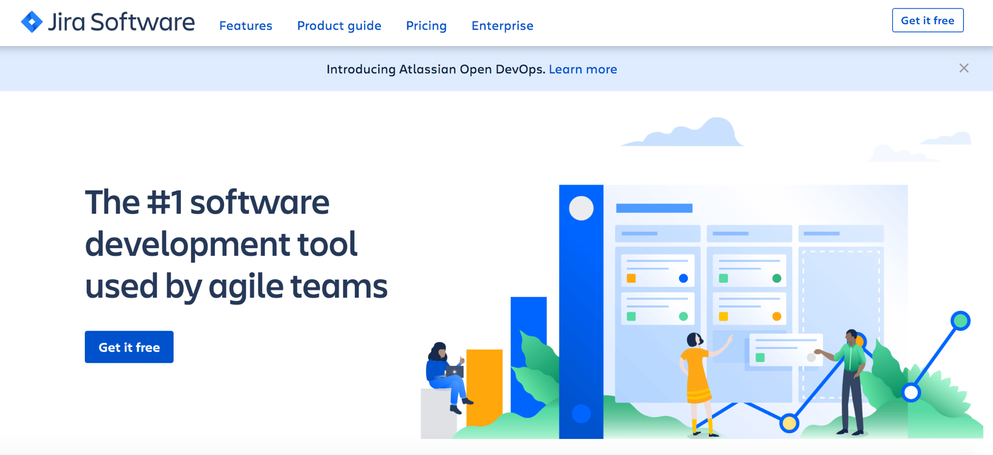 Jira Software homepage: The #1 software development tool used by agile teams.