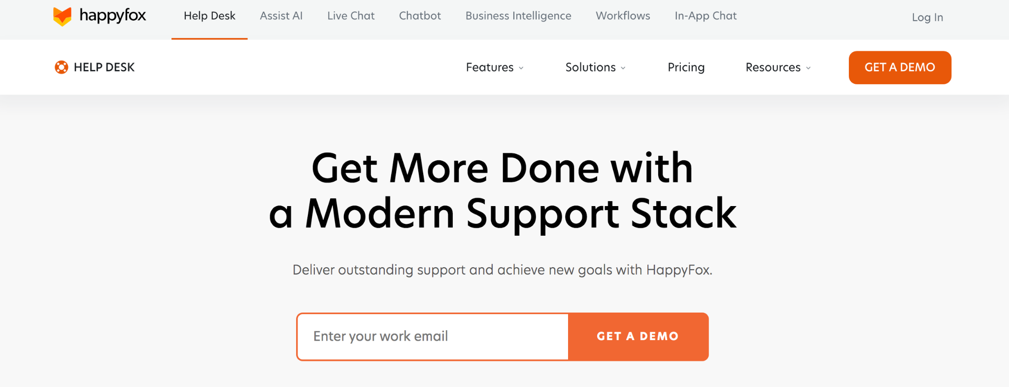 Happy Fox homepage: Get more done with a modern support stack.