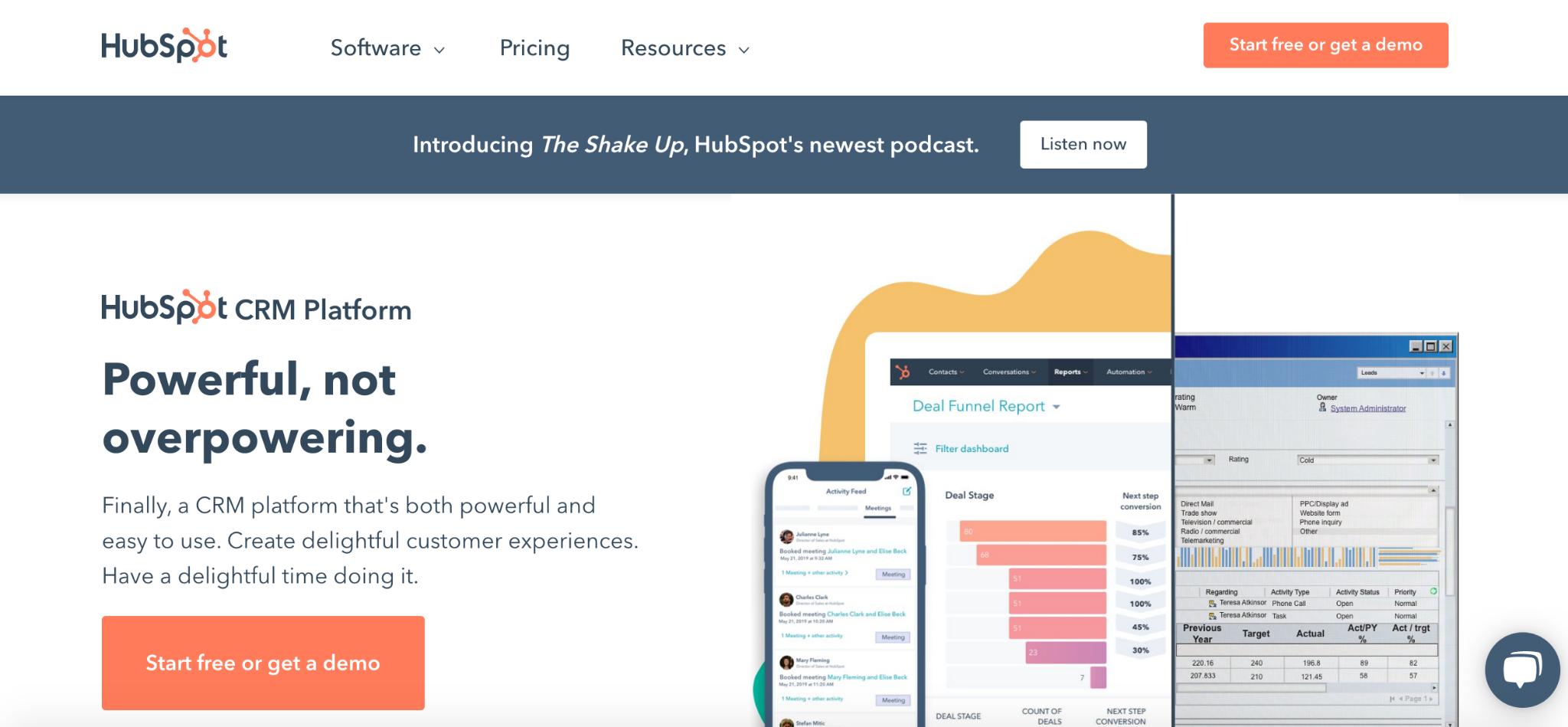 HubSpot homepage: Powerful, not overpowering.