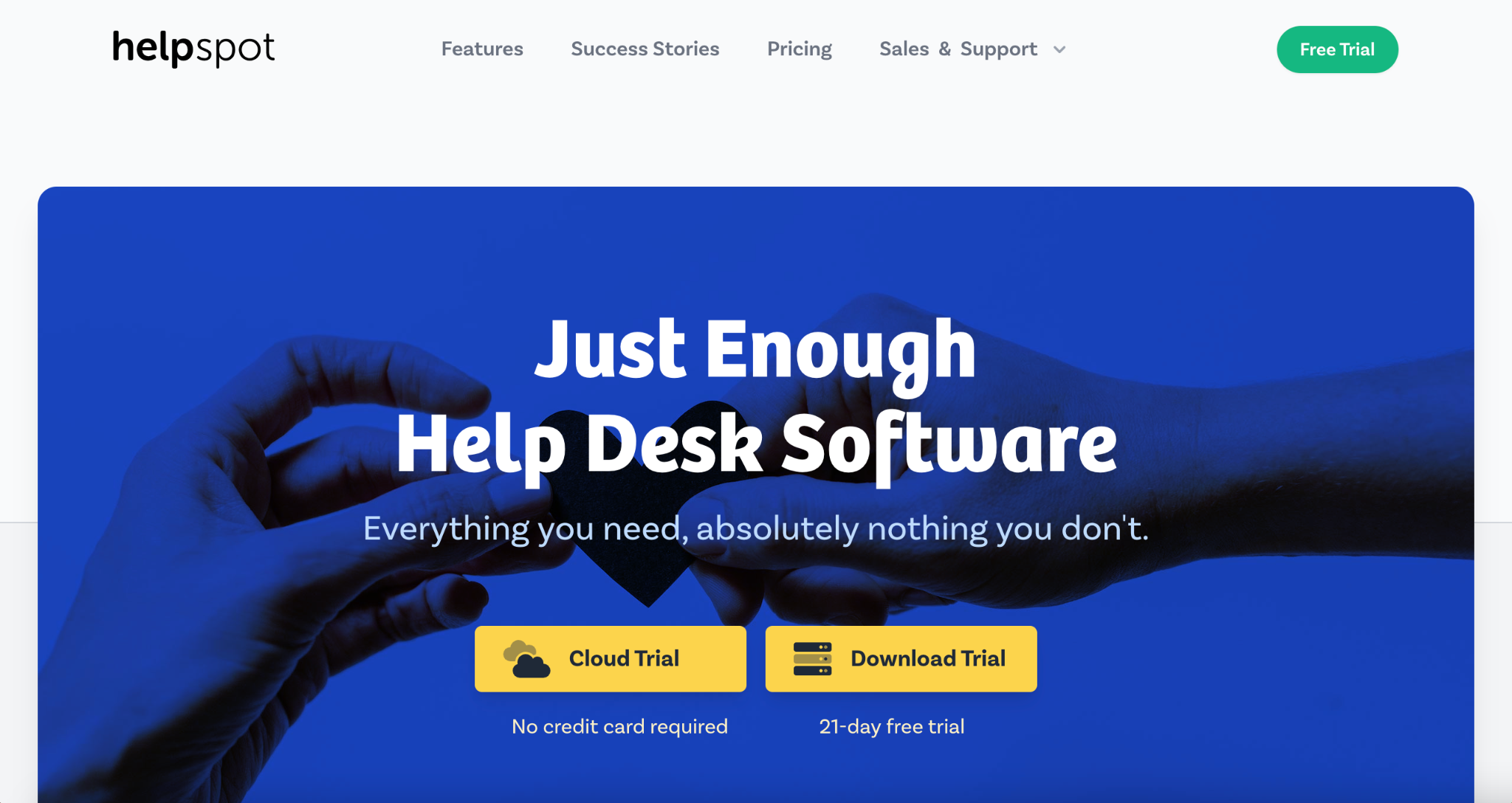 HelpSpot homepage: The Just Enough Help Desk